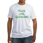 Peace Love Geocaching - Green Fitted T-Shirt
