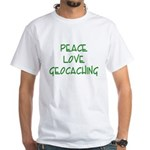 Peace Love Geocaching - Green White T-Shirt