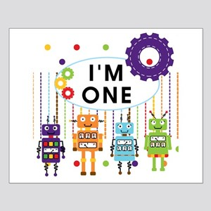 Robot First Birthday Small Poster