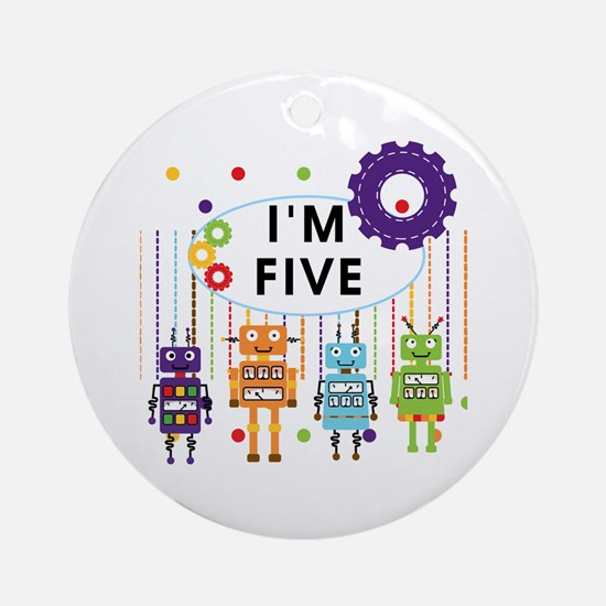 Robot 5th Birthday Ornament (Round)