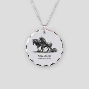 Belgian Horse Necklace Circle Charm