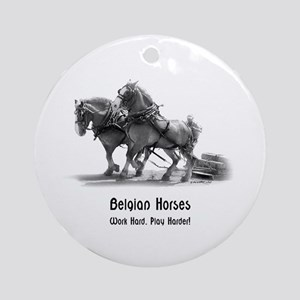 Belgian Horse Ornament (Round)