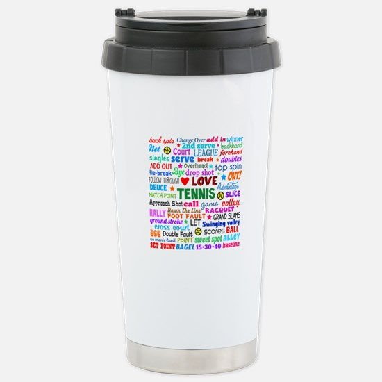 Tennis Terms Stainless Steel Travel Mug