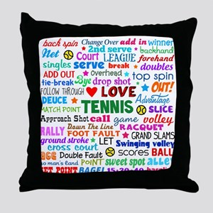 Tennis Terms Throw Pillow