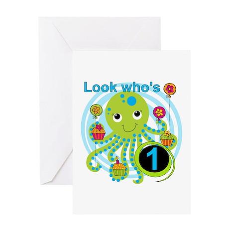 Octopus 1st Birthday Greeting Card