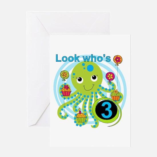 Octopus 3rd Birthday Greeting Card