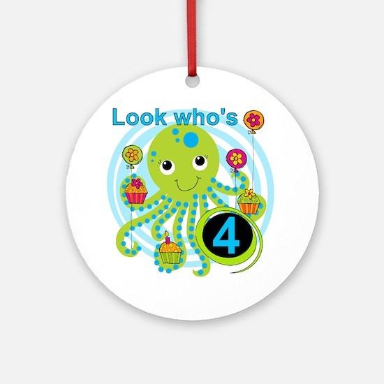 Octopus 4th Birthday Ornament (Round)