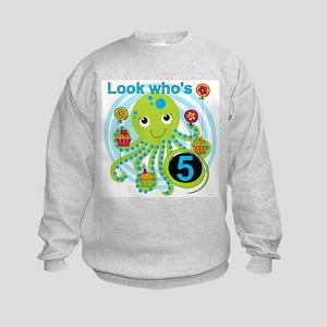 Octopus 5th Birthday Kids Sweatshirt