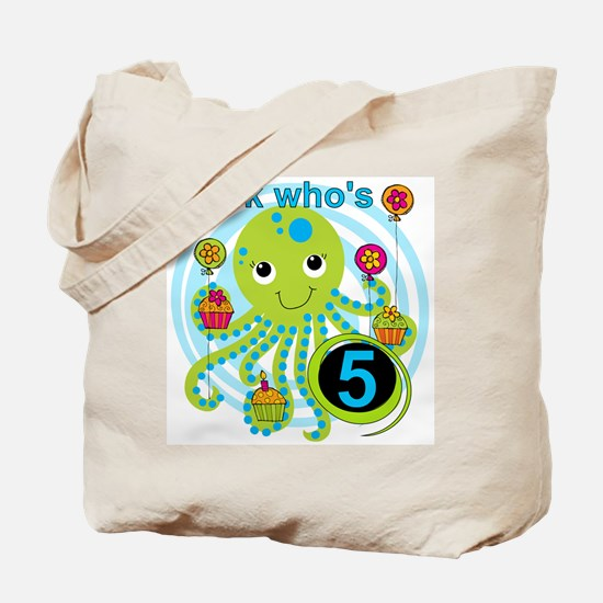 Octopus 5th Birthday Tote Bag