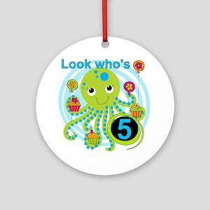 Octopus 5th Birthday Ornament (Round)
