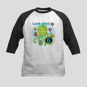 Octopus 6th Birthday Kids Baseball Jersey