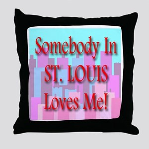 Somebody In St. Louis Loves M Throw Pillow