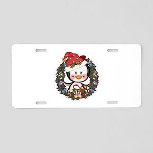 Christmas Penguin Holiday Wreath Aluminum License