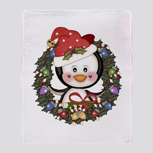 Christmas Penguin Holiday Wreath Throw Blanket