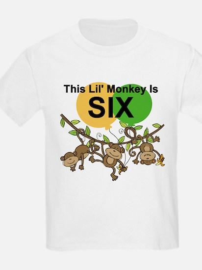 Swinging Monkeys 6th Birthday T-Shirt