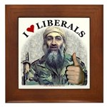 Osama luvs Liberals Framed Tile