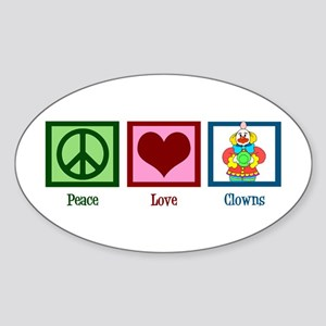 Peace Love Clowns Sticker (Oval)