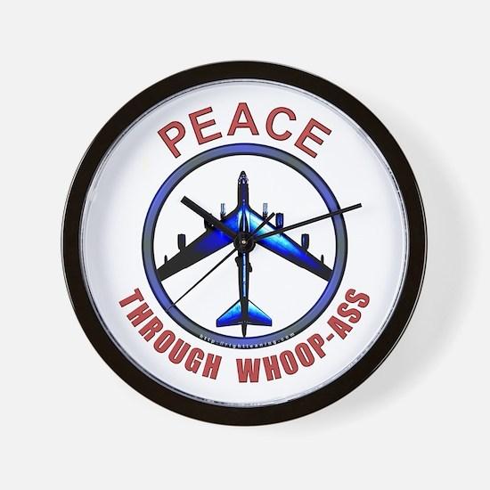"""Peace through Whoop-Ass"" Wall Clock"