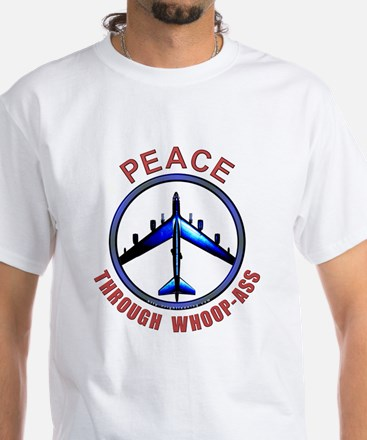 """Peace through Whoop-Ass"" White Tee"