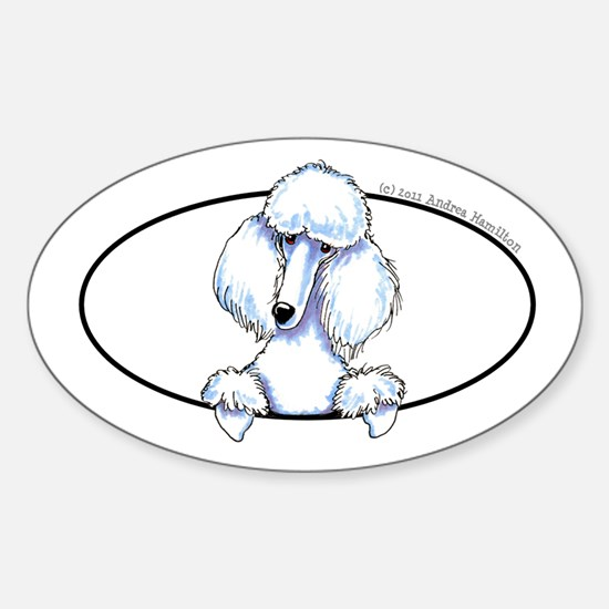 White Poodle Lover Sticker (Oval)