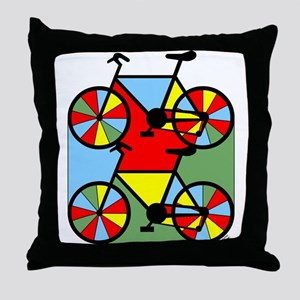 Colorful Bikes Throw Pillow