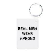 Real Men Wear Aprons Aluminum Photo Keychain