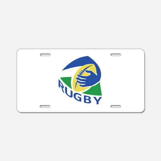 rugby ball try Aluminum License Plate