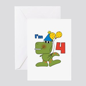 Little Dino 4th Birthday Greeting Card