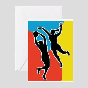netball player jumping Greeting Card