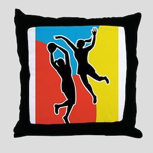 netball player jumping Throw Pillow