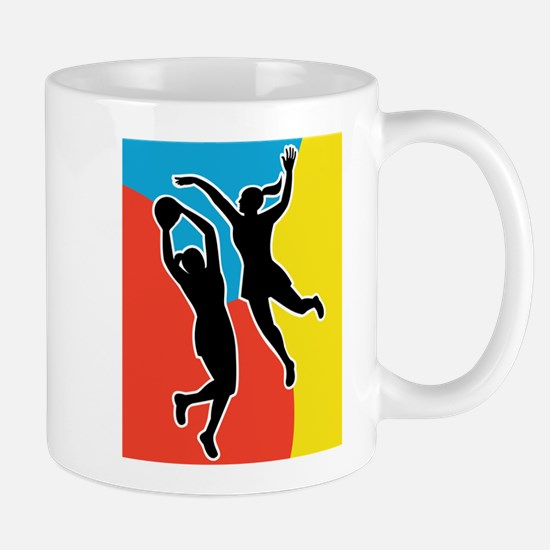 netball player jumping Mug