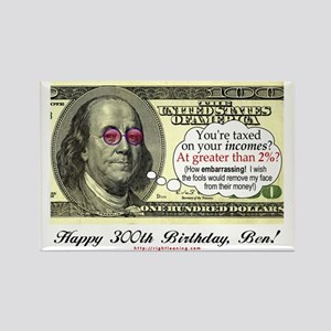 Ben Franklin Taxes Rectangle Magnet