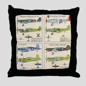 P-51 Mustang Corsair P-40 Spitfire Throw Pillow