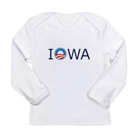 Iowa Blue Text Long Sleeve Infant T-Shirt