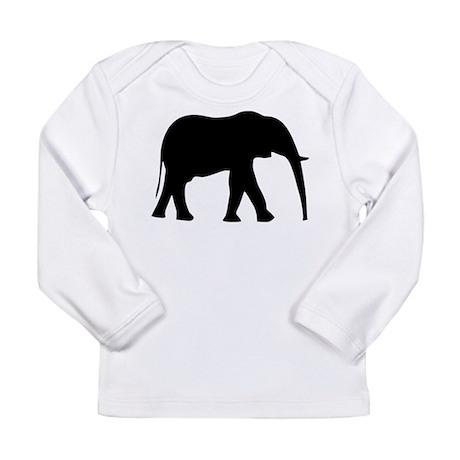 Elephant Silhouette Symbol Long Sleeve Infant T-Sh