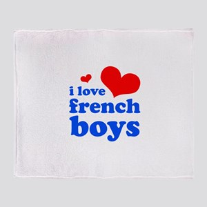 i love french boys (red/blue) Throw Blanket