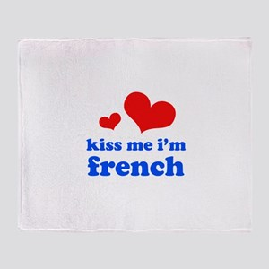 kiss me i'm french Throw Blanket