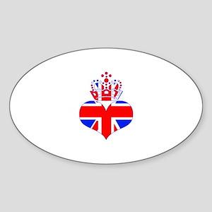 heart & crown (union jack) Sticker (Oval 10 pk)