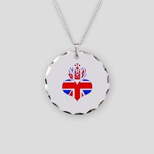 heart & crown (union jack) Necklace Circle Charm