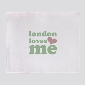 london loves me (green/pink) Throw Blanket