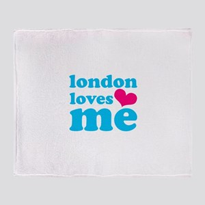 london loves me (turquoise/pi Throw Blanket