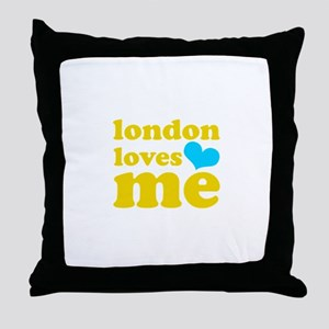 london loves me (yellow/blue) Throw Pillow
