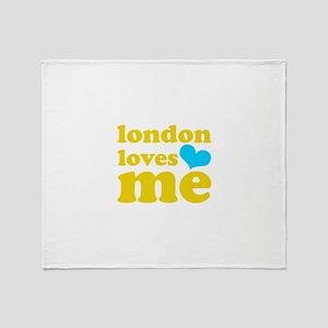london loves me (yellow/blue) Throw Blanket