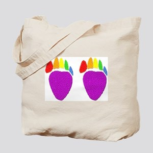2 bear paws-rainbow- Tote Bag