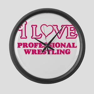 I Love Professional Wrestling Large Wall Clock