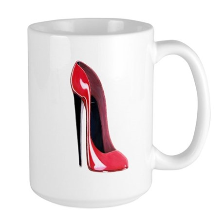 Black heel red stiletto shoe Large Mug