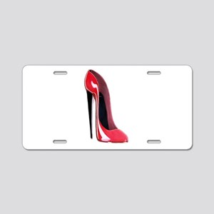 Black heel red stiletto shoe Aluminum License Plat