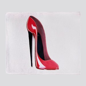 Black heel red stiletto shoe Throw Blanket