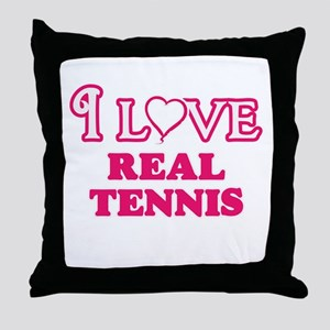 I Love Real Tennis Throw Pillow