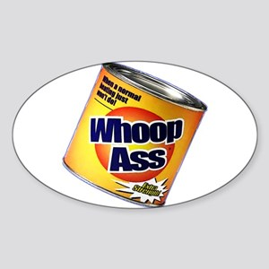 Funny Can Of Whoop Ass Sticker (Oval)